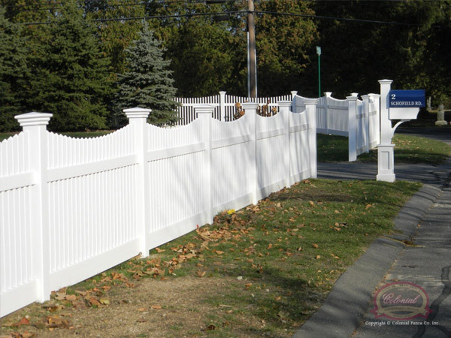 Vinyl Solid Picket Fence In Vinyl Fence Open Spaced Picket Colonial Co Norfolk Ma